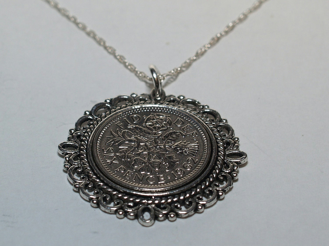Fancy Pendant 1954 Lucky sixpence 65th Birthday plus a Sterling Silver 18in Chai