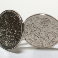 1967 Sixpence Cufflinks 52nd birthday. Original sixpence coins Great gift from 1