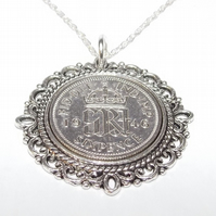 Fancy Pendant 1946 Lucky sixpence 75th Birthday plus a Sterling Silver 18in Chai