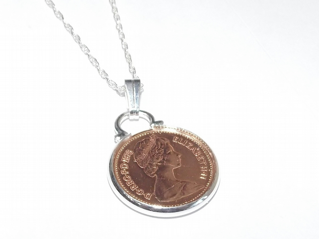 1977 British half pence coin pendant for 42nd birthday plus a Sterling Silver 18