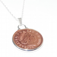 8th Bronze wedding anniversary pendant - Copper 1p coins from 2012 - Gift