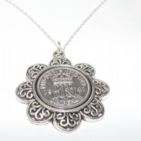 Floral Pendant 1941 Lucky sixpence 78th Birthday plus a Sterling Silver 18in Cha
