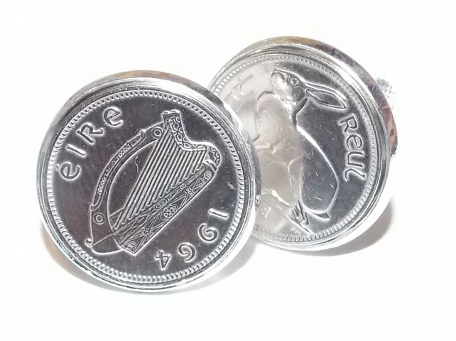 1964 Irish coin cufflinks- Great coin gift idea. Genuine Irish 3d threepence coi