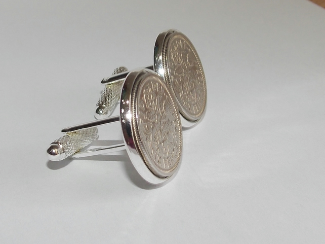 Original british sixpences inset in Silver Plated French Cufflinks backs 52nd Lu