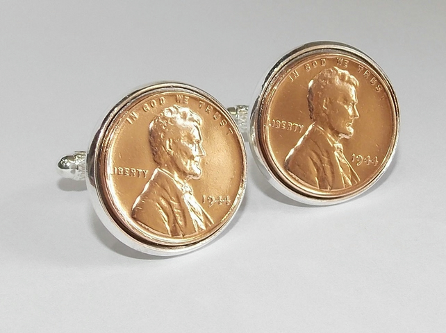 Deluxe 1944 75th Birthday Anniversary 1 cent lincoln coin cufflinks 73rd