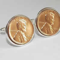 Deluxe 1944 77th Birthday Anniversary 1 cent lincoln coin cufflinks 73rd