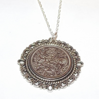 Fancy Pendant 1964 Lucky sixpence 57th Birthday plus a Sterling Silver 18in Chai