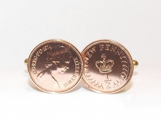 Vintage Retro 1976 half pence coin cufflinks for a 44th Birthday