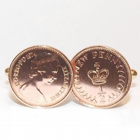 Vintage Retro 1976 half pence coin cufflinks for a 45th Birthday