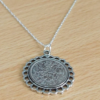 Fine Pendant 1954 Lucky sixpence 65th Birthday plus a Sterling Silver 18in Chain