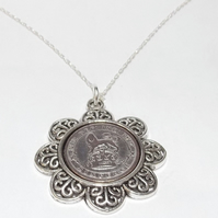 Floral Pendant 1926 Lucky sixpence 93rd Birthday plus a Sterling Silver 18in Cha