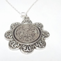 Floral Pendant 1958 Lucky sixpence 61st Birthday plus a Sterling Silver 18in Cha