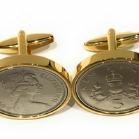 1980 40th Birthday Anniversary Old Large English 5p coin cufflinks - British 5p