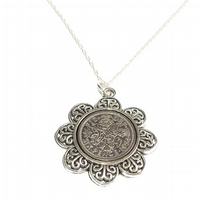 Floral Pendant 1954 Lucky sixpence 66th Birthday plus a Sterling Silver 18in Cha