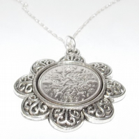 Floral Pendant 1937 Lucky sixpence 84th Birthday plus Sterling Silver 24in Chain