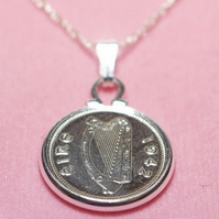 1967 52nd Birthday Anniversary Irish Threepence coin pendant plus 18inch SS chai