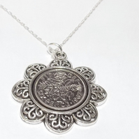 Floral Pendant 1967 Lucky sixpence 52nd Birthday plus a Sterling Silver 18in Cha