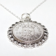 Fine Pendant 1938 Lucky sixpence 83rd Birthday plus a Sterling Silver 18in Chain