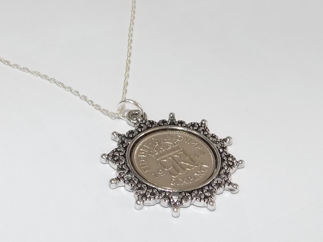 Star Pendant 1945 Lucky sixpence 74th Birthday plus a Sterling Silver 18in Chain