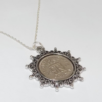 Star Pendant 1945 Lucky sixpence 75th Birthday plus a Sterling Silver 18in Chain