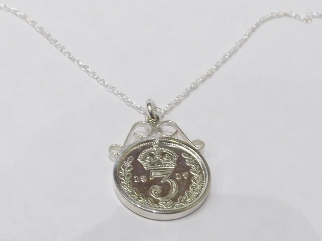 1918 101st Birthday Anniversary 3D Threepence coin pendant plus 18inch SS chain