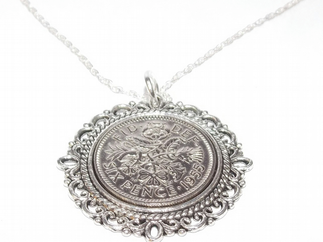 Fancy Pendant 1955 Lucky sixpence 64th Birthday plus a Sterling Silver 18in Chai