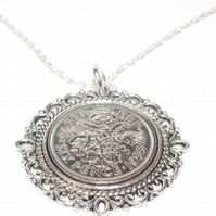 Fancy Pendant 1955 Lucky sixpence 65th Birthday plus a Sterling Silver 18in Chai