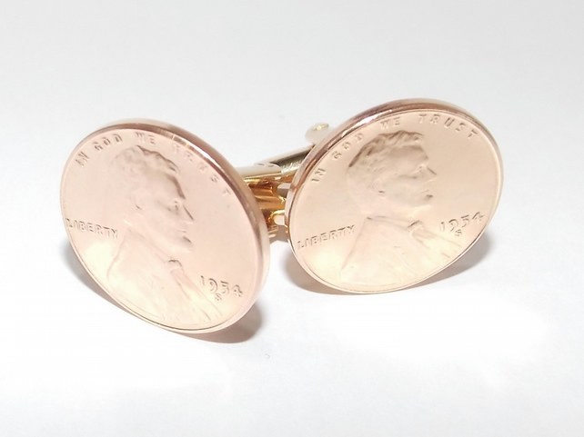 1954 66th Birthday Anniversary 1 cent lincoln coin cufflinks - One cent cufflink