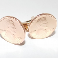 1954 65th Birthday Anniversary 1 cent lincoln coin cufflinks - One cent cufflink