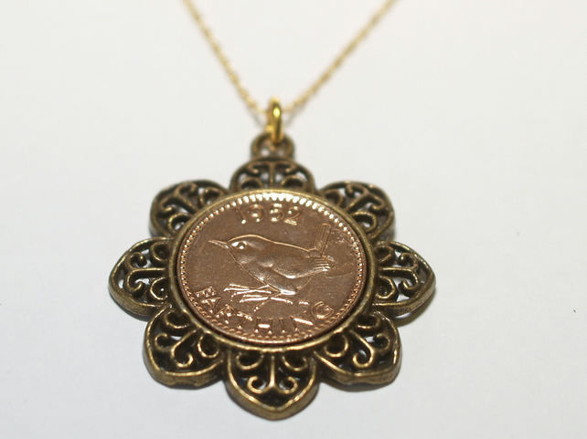 Floral Pendant 1952 67th Birthday Farthing & 18in Gold Plated Sterling Silver ch