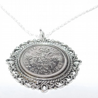 Fancy Pendant 1967 Lucky sixpence 52nd Birthday plus a Sterling Silver 18in Chai