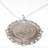 Lucky sixpence 62nd Birthday plus a Sterling Silver 24in Chain 62nd Fancy Pendan