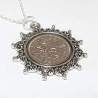 Star Pendant 1957 Lucky sixpence 64th Birthday plus a Sterling Silver 18in Chain