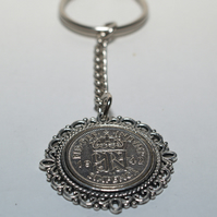 Fancy Pendant 1947 Lucky sixpence 73rd Birthday on a keychain 1947