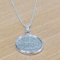 1939 80th Birthday Anniversary sixpence coin pendant plus 22inch SS chain gift 8