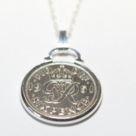 1948 72nd Birthday Anniversary sixpence coin pendant plus 24inch SS chain gift