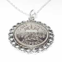 Fine Pendant 1948 Lucky sixpence 73rd Birthday plus a Sterling Silver 20in Chain