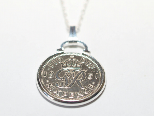 1949 70th Birthday Anniversary sixpence coin pendant plus 22inch SS chain gift