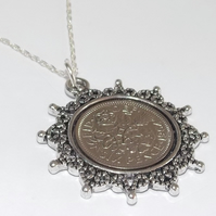 Star Pendant 1967 Lucky sixpence 52nd Birthday plus a Sterling Silver 18in Chain