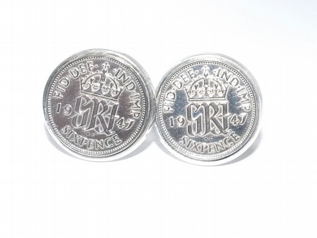 Luxury 1946 Sixpence Cufflinks for a 74th birthday. Original British sixpences