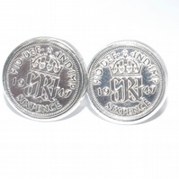 Luxury 1946 Sixpence Cufflinks for a 75th birthday. Original British sixpences