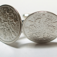 1930 Sixpence Cufflinks 89th birthday. Original sixpence coins Great gift from 1