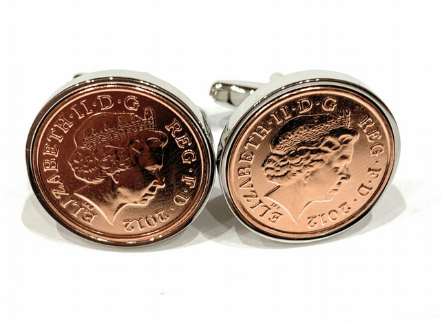 7th copper wedding anniversary cufflinks - Copper 1p coins from 2012 - Gift