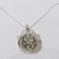1919 100th Birthday Anniversary 3D Threepence coin pendant plus 18inch SS chain