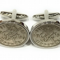 Luxury 1949 Sixpence Cufflinks for a 70th birthday. Original British sixpences f