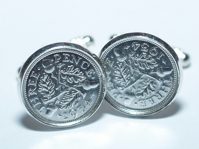 1936 Silver Threepence Cufflinks 84th birthday, 84th birthday gift, 84th gift,
