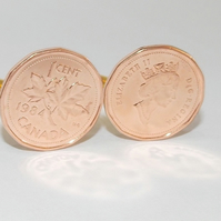 1976 64th Birthday Anniversary 1 cent Canadian coin cufflinks