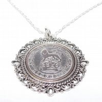 Fancy Pendant 1925 Lucky sixpence 94th Birthday plus a Sterling Silver 18in Chai