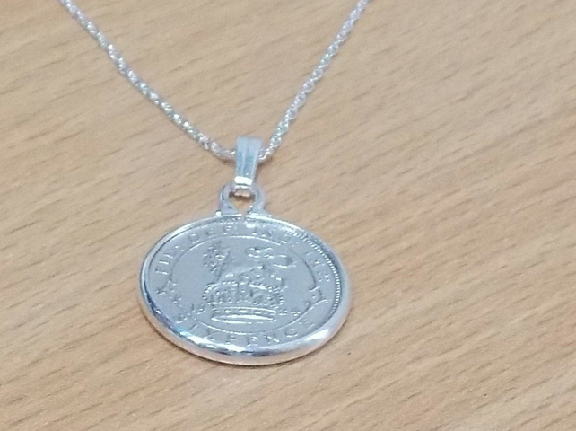 1920 99th Birthday Anniversary sixpence coin pendant plus 18inch SS chain gift