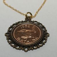 Fancy Pendant 1953 66th Birthday Farthing & 18in Gold Plated Sterling Silver cha